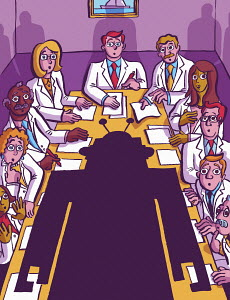 Meeting of scientists shocked by robot at head of conference table