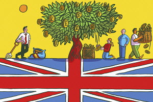 Pound money tree growing from Union Jack flag