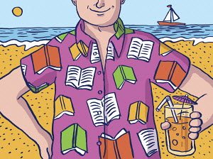 Cheerful man on summer beach wearing book pattern shirt