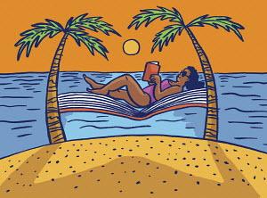 Woman reading lying on book hammock