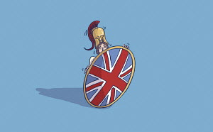 Frightened Britannia hiding behind her shield