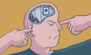 Man with locked brain not listening