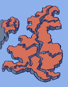 Map of United Kingdom breaking up