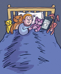 Child asleep in bed with soft toys and digital tablet