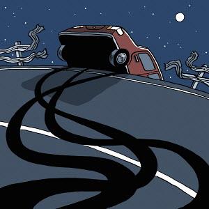 Car swerving off road through crash barrier