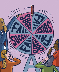 Anxious people spinning success or failure wheel of fortune