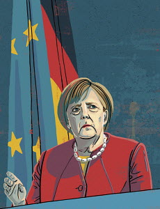 Illustration of Angela Merkel making speech