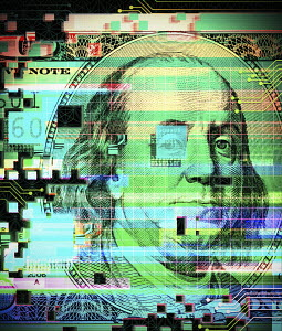 Grid pattern and circuit board over one hundred dollar bill