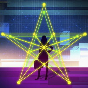 Businesswoman in illuminated gold star grid