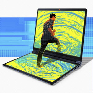 Man stepping into rippling computer screen