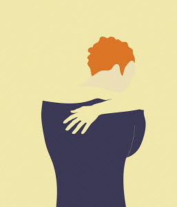 Woman hugging self