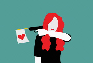 Woman firing heart flag from toy gun