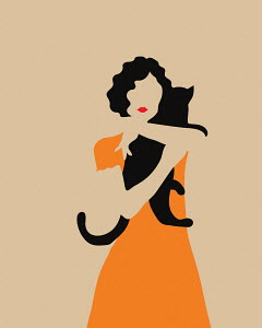 Woman hugging black cat