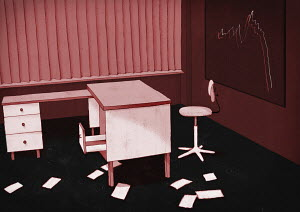Deserted office of failed business