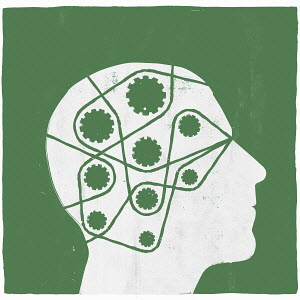 Lines and cogs inside man's head
