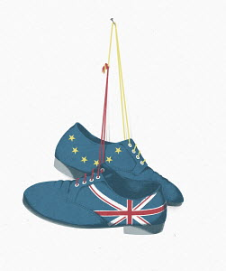 Mismatched shoes with British and European Union flags