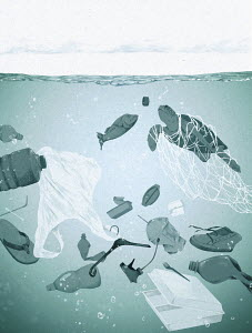 Fish and turtle swimming through plastic rubbish in the ocean
