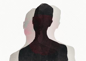 Silhouette of man with two shadows