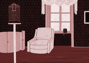 Empty birdcage and armchair in living room
