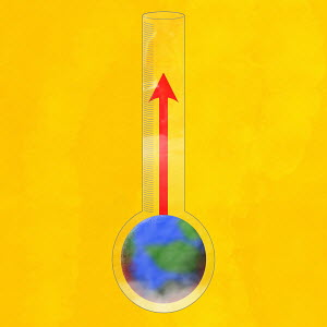 Temperature rising in globe thermometer