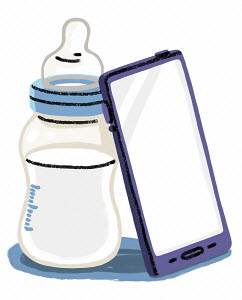 Smart phone next to baby's bottle