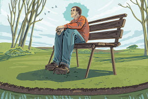 Man sitting on bench enjoying tranquility