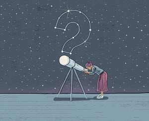 Woman looking through telescope at question mark in stars