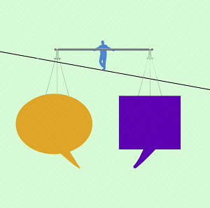 Man walking tightrope balancing different speech bubbles