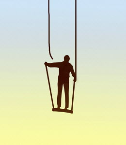 Man on broken swing