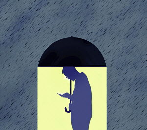 Man using phone under umbrella oblivious to rain