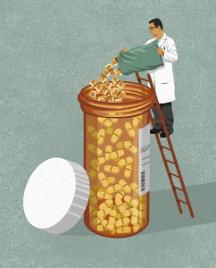Doctor pouring money into pill bottle