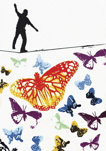 Man walking tightrope above colourful butterflies