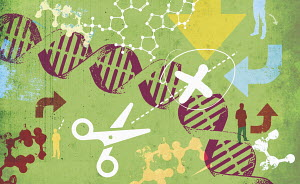 Scissors cutting DNA helix