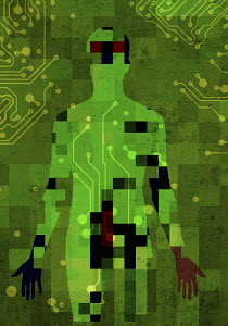 Pixelated man connected to circuit board