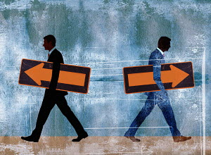Businessmen walking with arrows in opposite direction