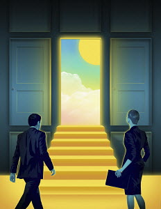 Businessman and businesswoman approaching sunny day through open door