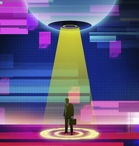 Businessman in futuristic technology spotlight