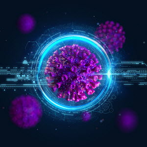 Computer generated coronavirus and digital technology