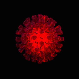Computer generated glowing red coronavirus