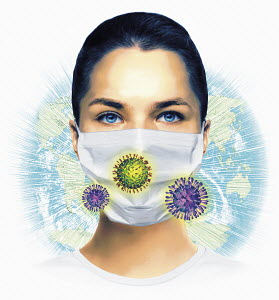 Woman wearing mask, world map and virus organisms