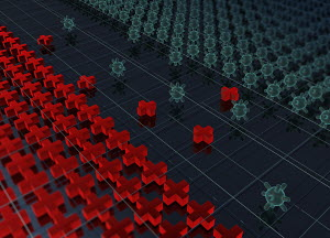 Computer generated illustration of frontline between lots of virus organisms and red crosses