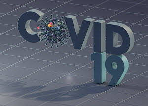 Covid-19 in three dimensional letters