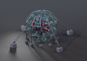 Computer generated illustration of coronavirus organism inside chained down in metal cage