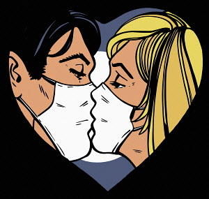 Couple kissing wearing masks