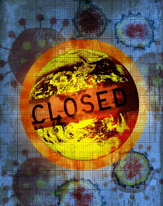 Closed sign over world due to coronavirus