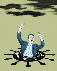 Businessman drowning in coronavirus puddle