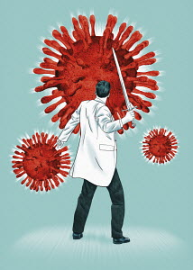 Scientist fighting coronavirus with sword