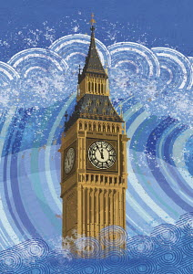 Big Ben submerged in rising flood water