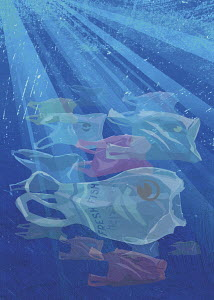 Plastic carrier bags like shoal of fish
