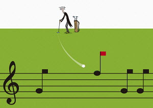 Classical musician hitting golf ball into musical note golf hole